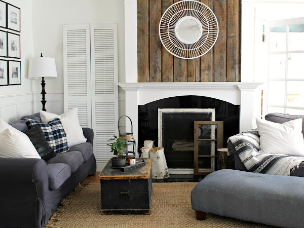 Fireplace Makeover - Rustic Wood Planks on Fireplace
