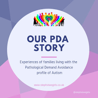pink and purple square logo with words our pda story, experiences of families living with the pathological demand avoidance profile of autism