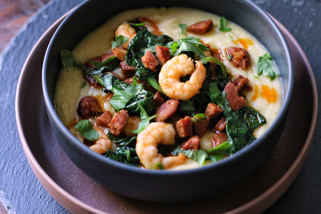 Polenta with Chorizo and Shrimp