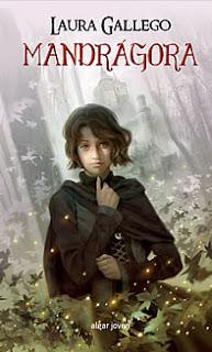 Portada del libro Mandrágora de Laura Gallego, dibujo de una chica vestida de forma medieval en un bosque