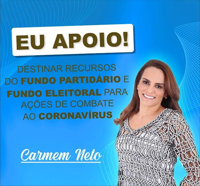 Recursos do fundo partidário e eleitoral devem  ser aplicados na prevenção do coronavírus; diz Secretaria Carmem Neto