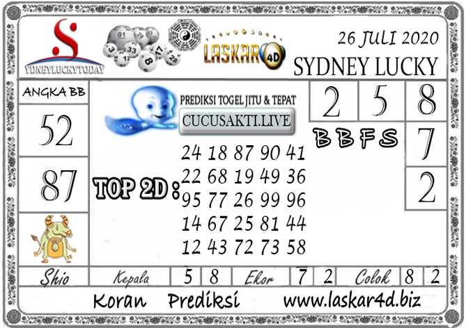 Prediksi Sydney Lucky Today LASKAR4D 26 JULI 2020