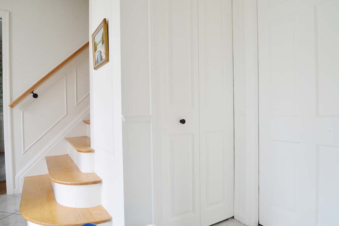 entryway wainscot, traditional moulding, traditional wainscotting, shiplap alternative