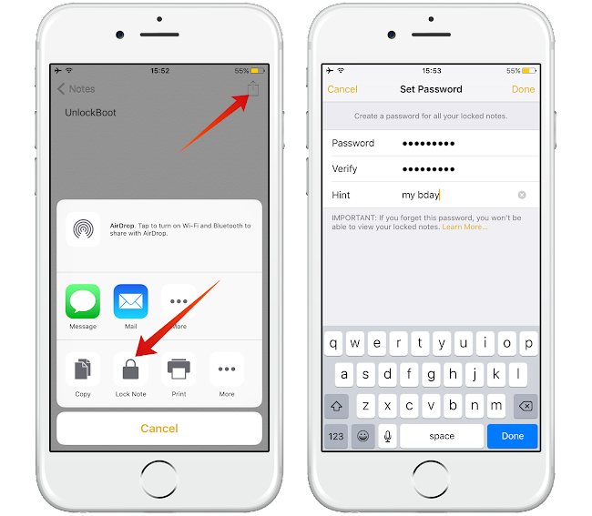 password lock notes iPhone