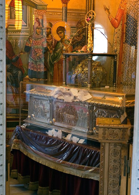 Relics of St. Demetrius,  a Military Saint at the Aghios Demetrius Basilica, Thessaloniki