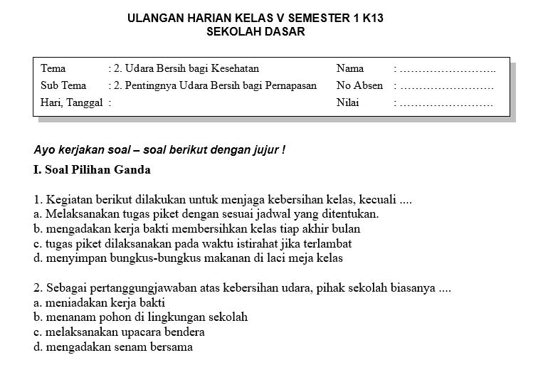 Soal Ulangan Harian Kelas 5 Tema 2 Subtema 2 Dan Kunci Jawaban Sekolahdasar Net