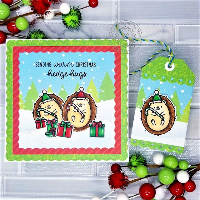 Sunny Studio Blog: Handmade Hedgehog Holiday Christmas Card by Ana Anderson (using Hedgey Holiday Stamps, Fancy Frame Square Dies, Build-a-Tag 2 Dies & Very Merry Paper)