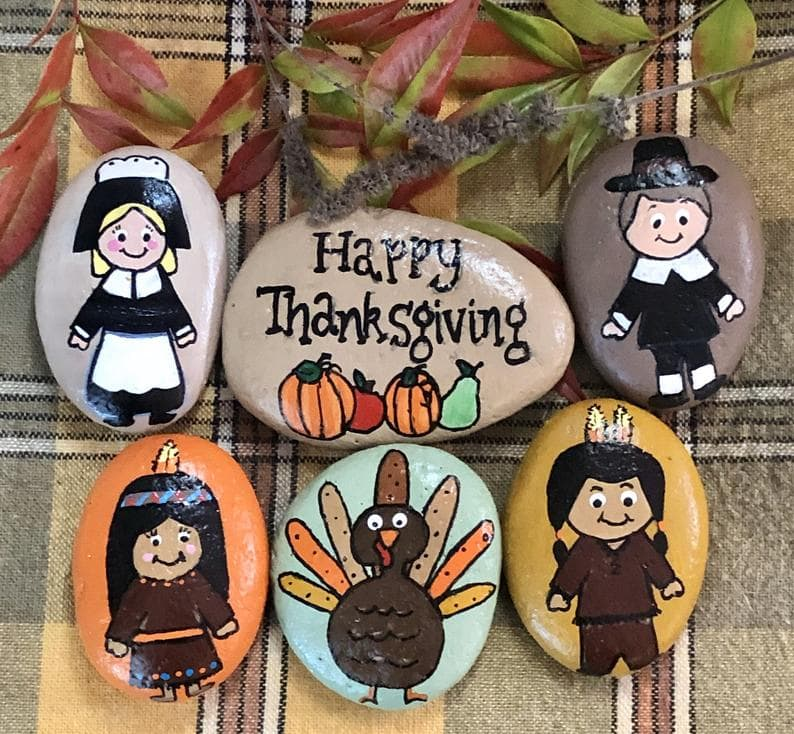 Cute Thanksgiving painted rock set on etsy