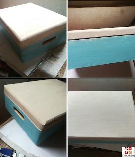 caja de madera pintada