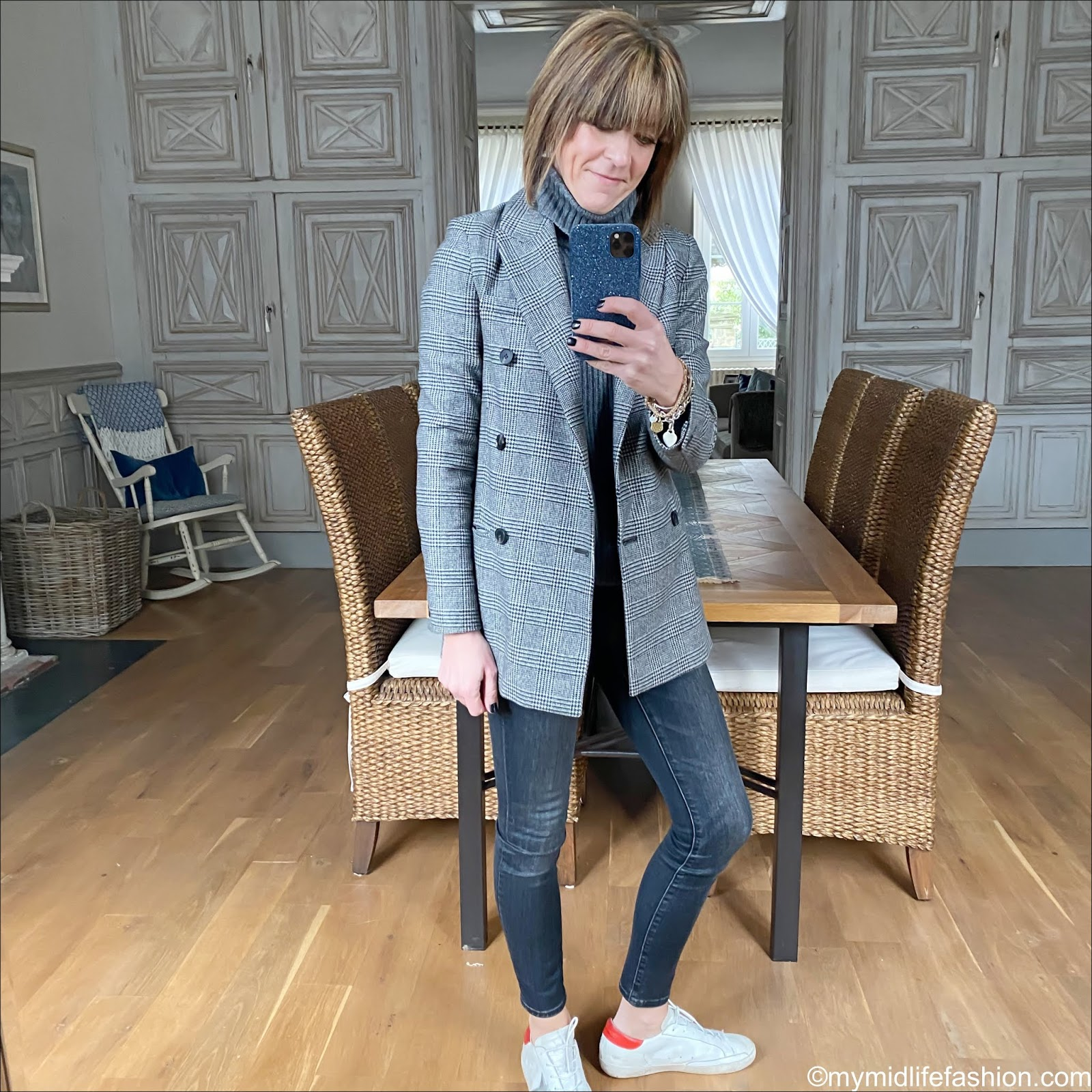 my midlife fashion, golden goose superstar low top leather trainers, j crew 9 high rise toothpick jean in charcoal, Isabel Marant Etoile knitted vest, all saints Astrid check double breasted blazer