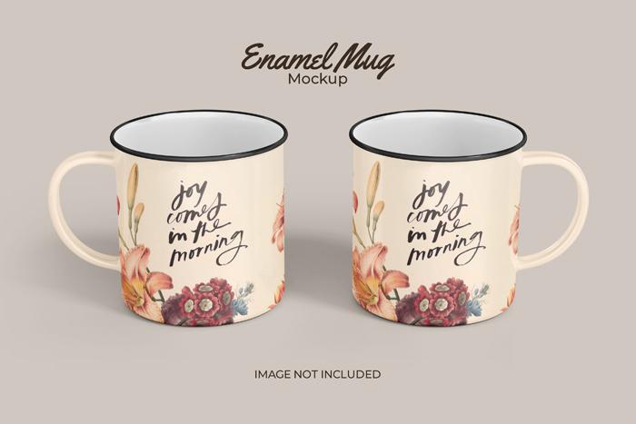Two Classic Enamel PSD Mug Mockup