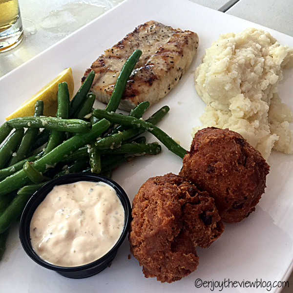 Fresh fish of the day (cobia) with green beans, mashed potatoes, hush puppies, and remoulade from the Great Southern Cafe in Seaside!
