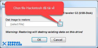Chọn File Hackintosh File sau đó chọn OK và Yes