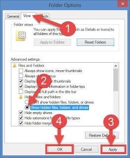 tick on show hidden file or folder