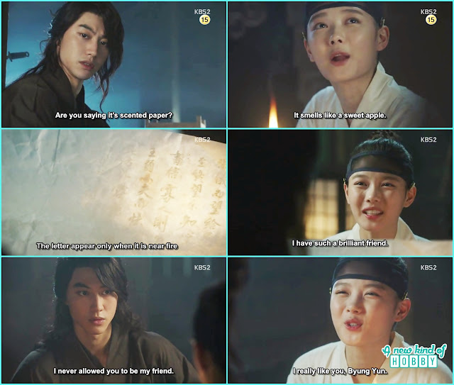 beyoung yeon got to knew its kings secret letter written with apple vinager  - Love in The Moonlight - Episode 3 Review