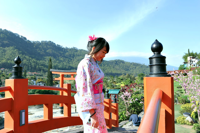 wearing yukata at The Onsen Resort, Batu