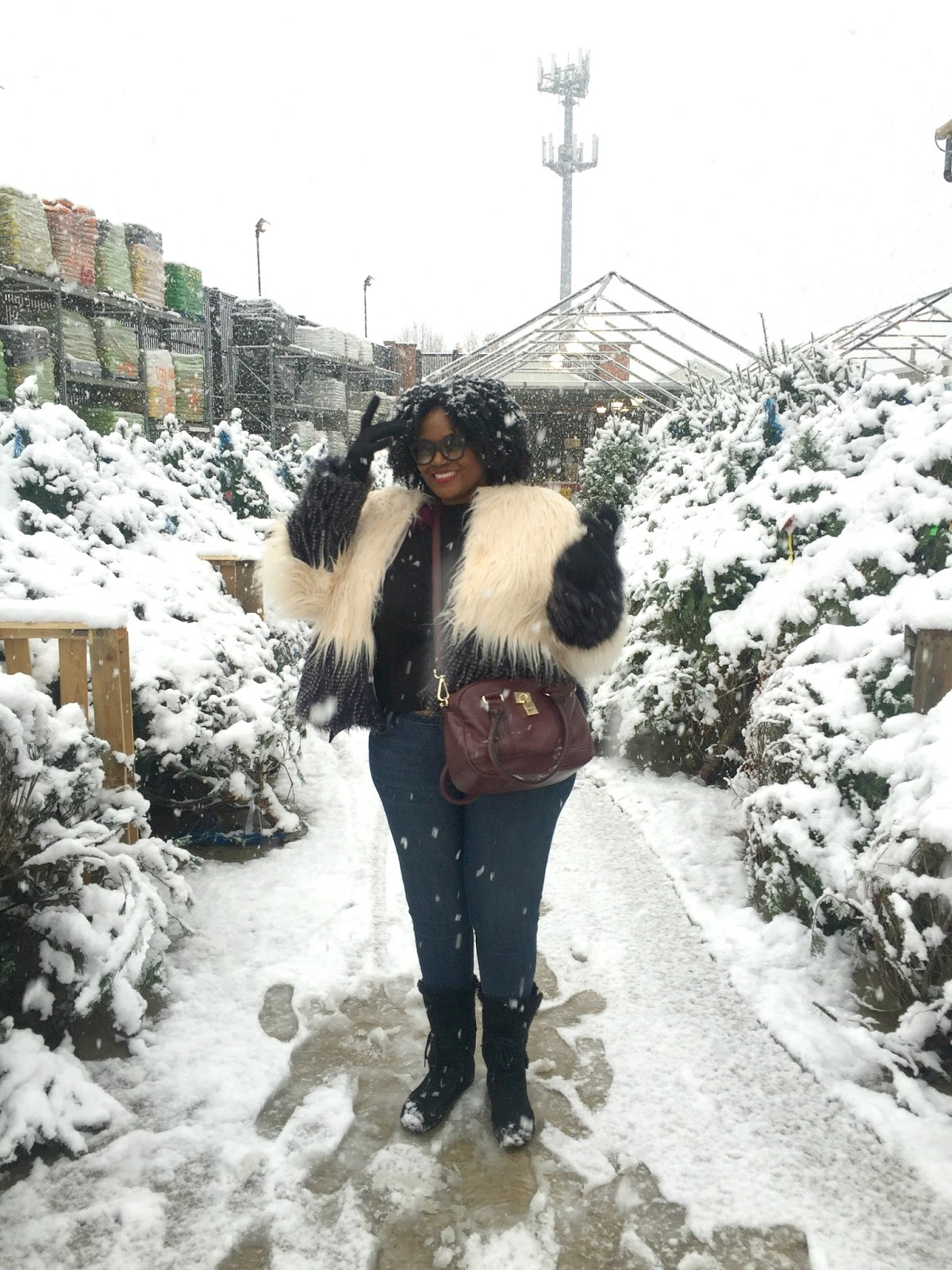 Plus Size Faux Fur Playing In The Snow