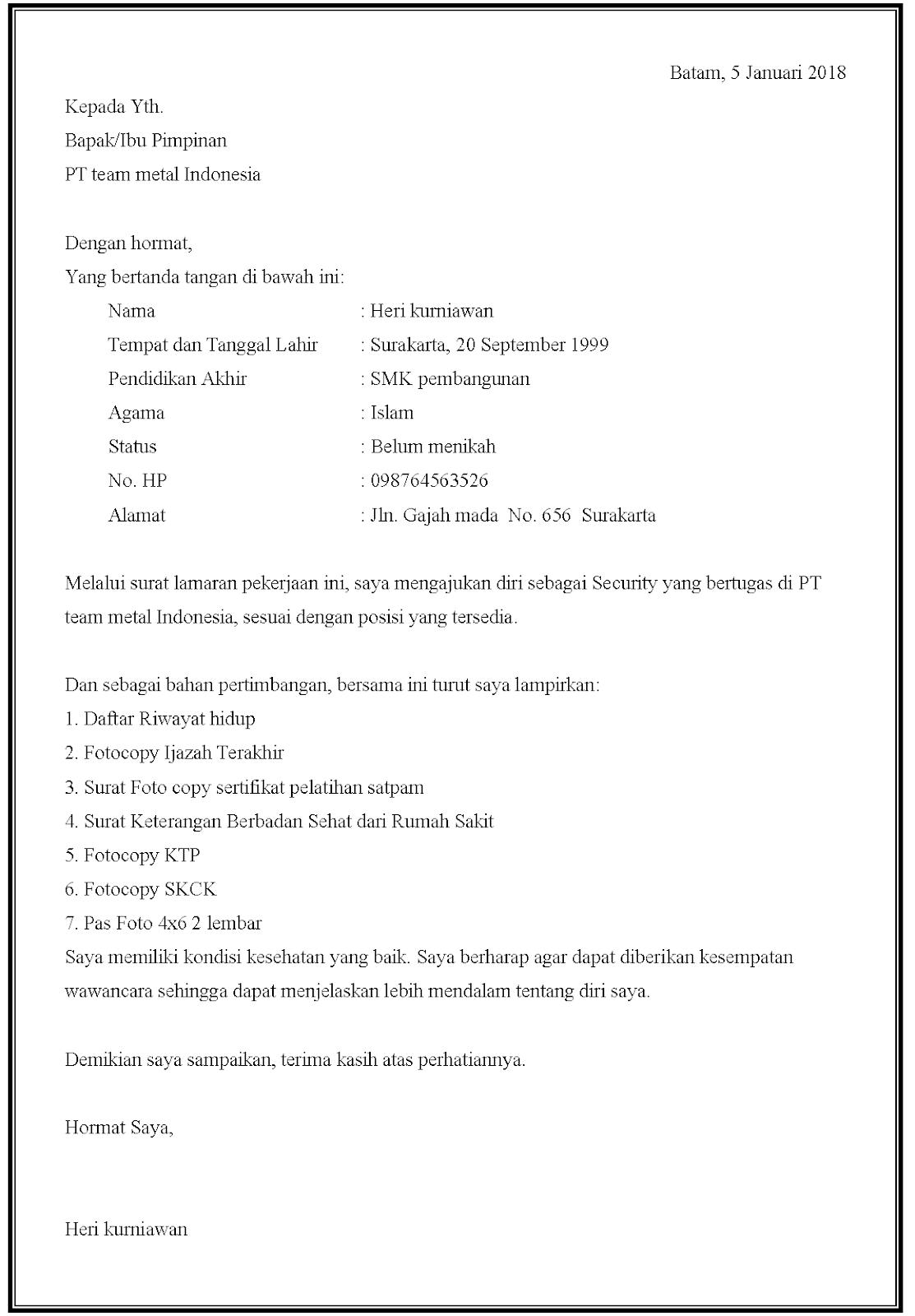 Contoh surat lamaran kerja security di PT team metal Indonesia