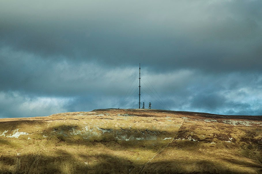 The television transmitter mast on the top of Truskmore Mountain