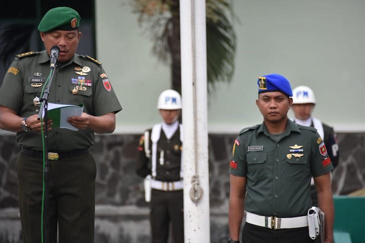 Kasrem 141/Tp, Pimpin Upacara Pengibaran Bendera Dan Pembacaan Amanat Pangdam XIV/Hsn