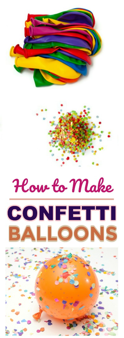 How to make confetti balloons for parties, New Year's Eve, kids birthdays, and more! #partyideas #confettiballoons
