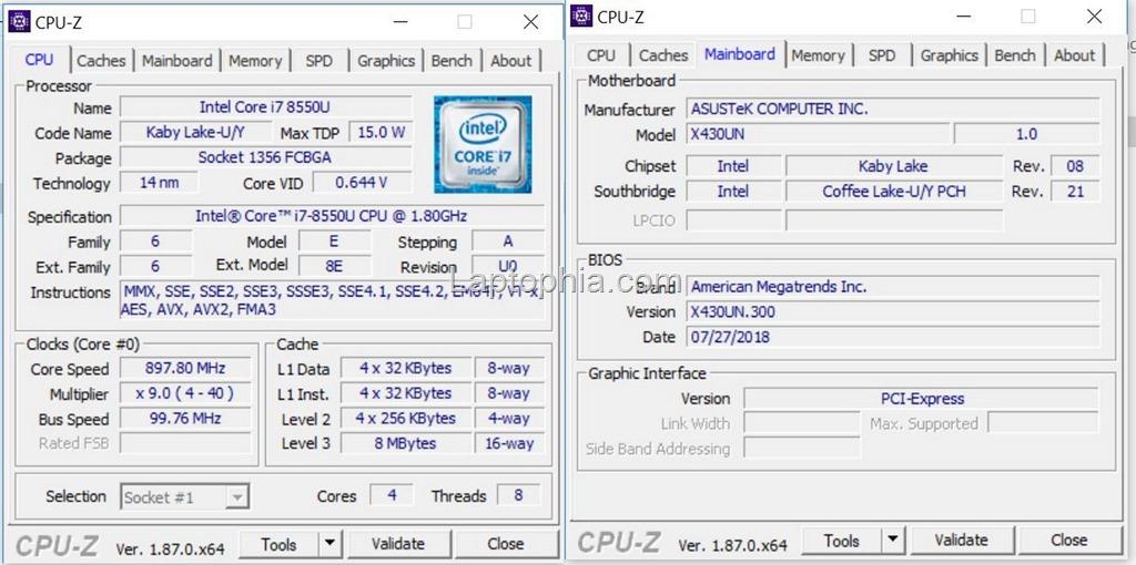 CPU-Z Asus VivoBook S430UN