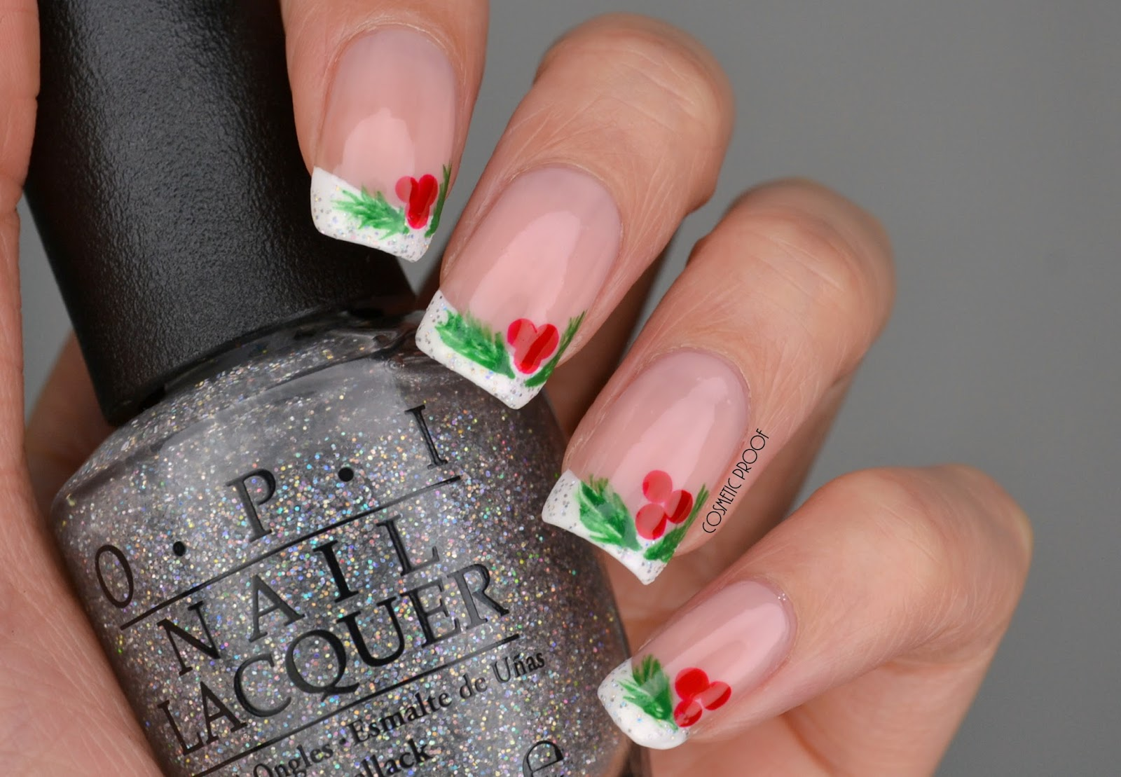 Nails christmas holly french manicure cosmetic proof christmas holly nail art prinsesfo Gallery