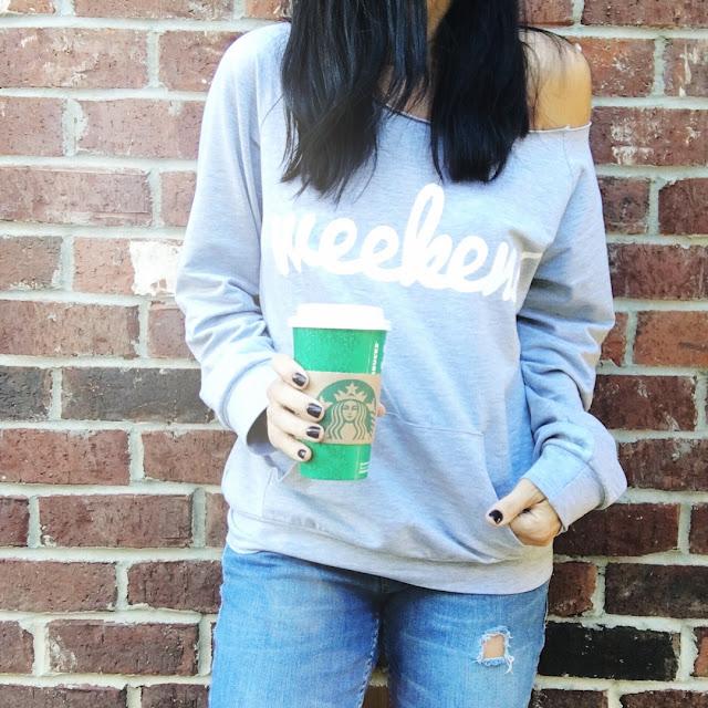 Off shoulder weekend sweatshirt, stilettos and diapers