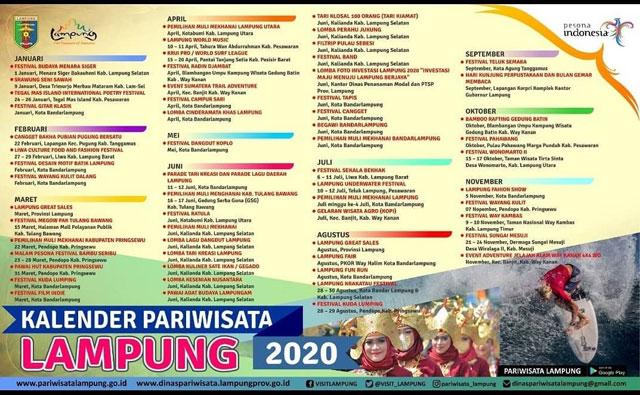 kalender paeriwisata lampung tahun 2020