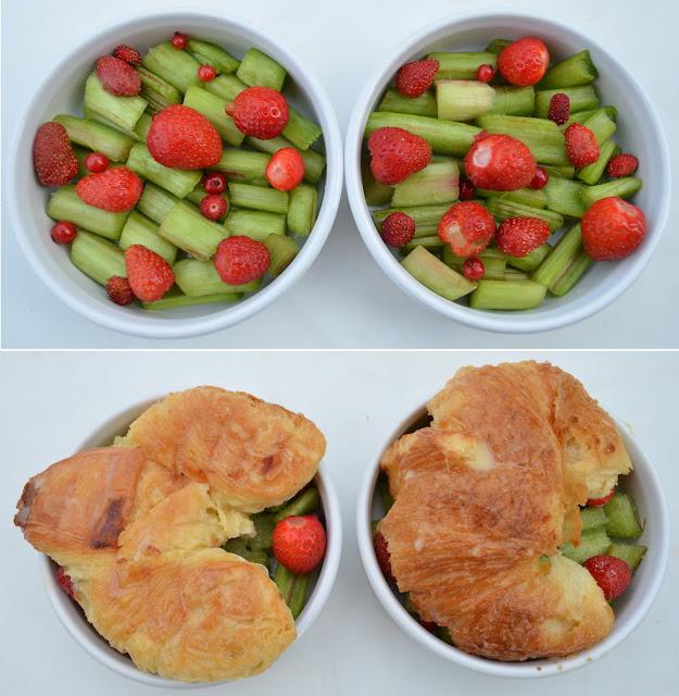 Croissants perdus sur compotée de rhubarbe et fruits rouges