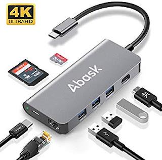Adattatore 8 in 1 Tipo C con HDMI 4K, Porta Ethernet, 3 Porte USB 3.0, Lettori SD e TF, Porta di Ricarica
