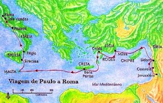E, como por muitos dias navegássemos vagarosamente, havendo chegado apenas defronte de Cnido, não nos permitindo o vento ir mais adiante, navegamos abaixo de Creta, junto de Salmone. E, consteando-a dificilmente, chegamos a um lugar chamando Bons Portos, perto do qual estava a cidade de Laséia.