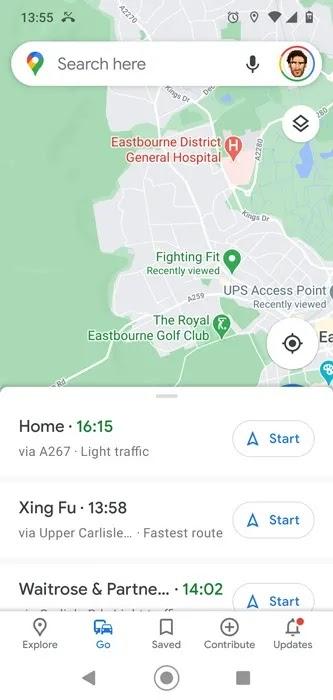حفظ المسار خرائط جوجل الطريق المثبت