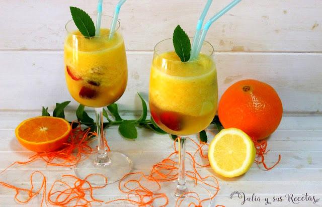 Sorbete de naranja con fruta fresca. Julia y sus recetas