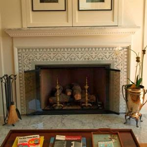 Yuna cement tile fireplace