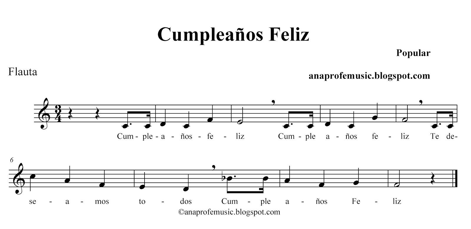 Anaprofemusic Partitura Cumpleanos Feliz