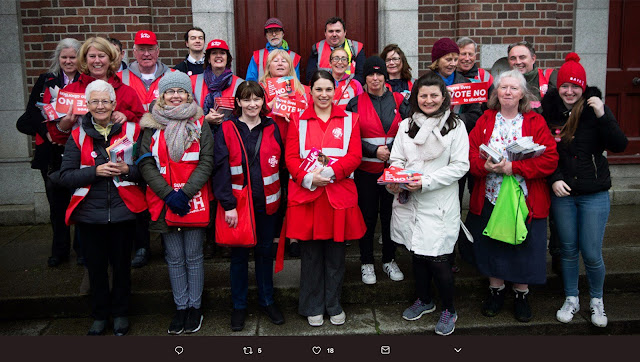"A photo of canvassers in Ireland helping to save the unborn and ensure a ""No"" vote on May 25."