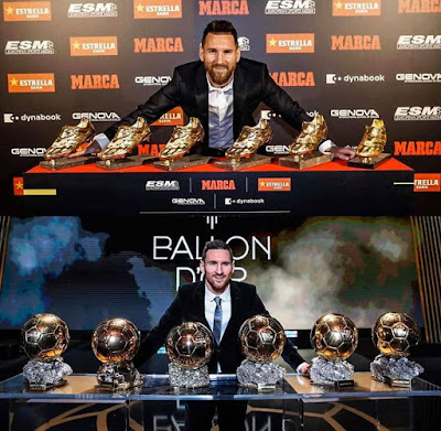 The #first #plater who won 6 #Golden #Boots...&...The #first #player who won 6 #Ballon #d'Ors. 🐐👑...#Messi.