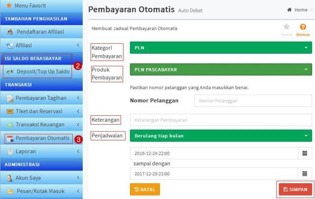 Pembayaran Otomatis Auto Debet Via Web Bebas Bayar