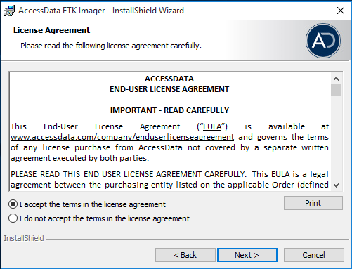 AccessData FTK Imager, Termini di licenza