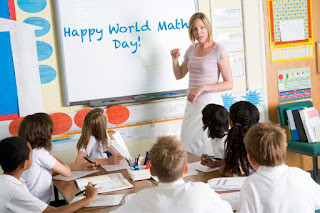 A teacher writing Happy World Maths Day