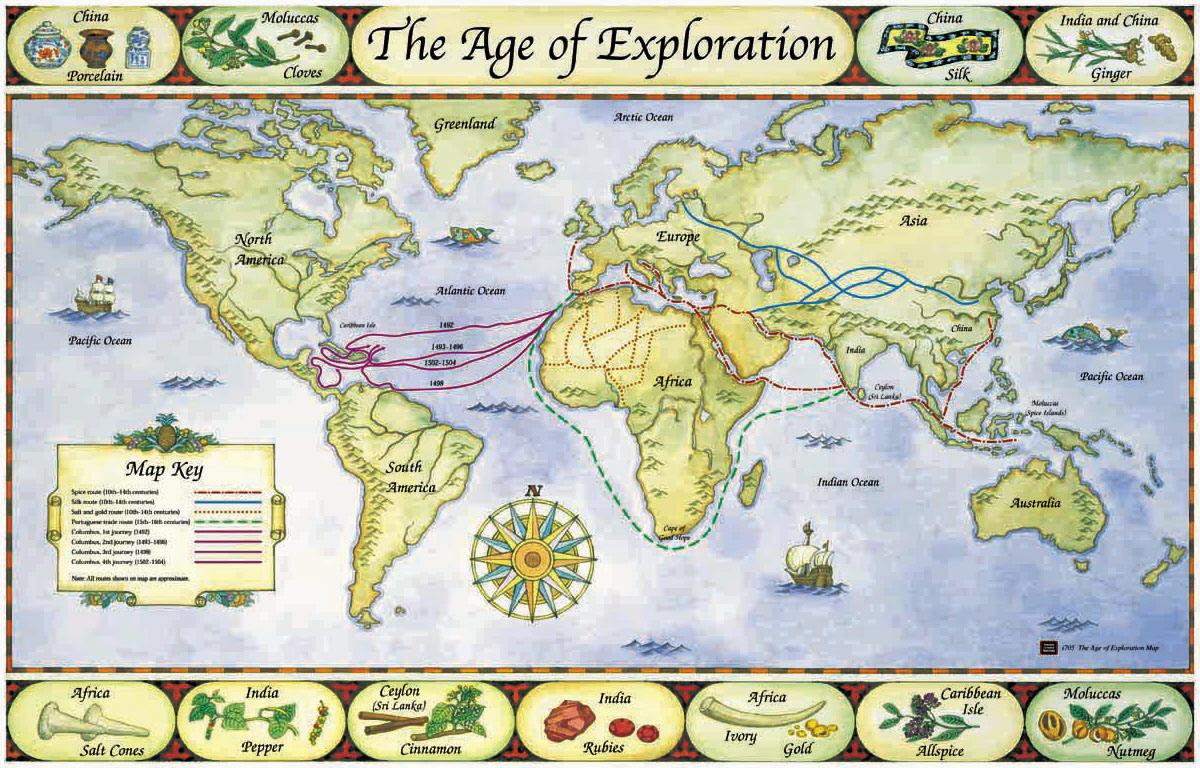 Routes Of Famous Explorers Vector Clip Art
