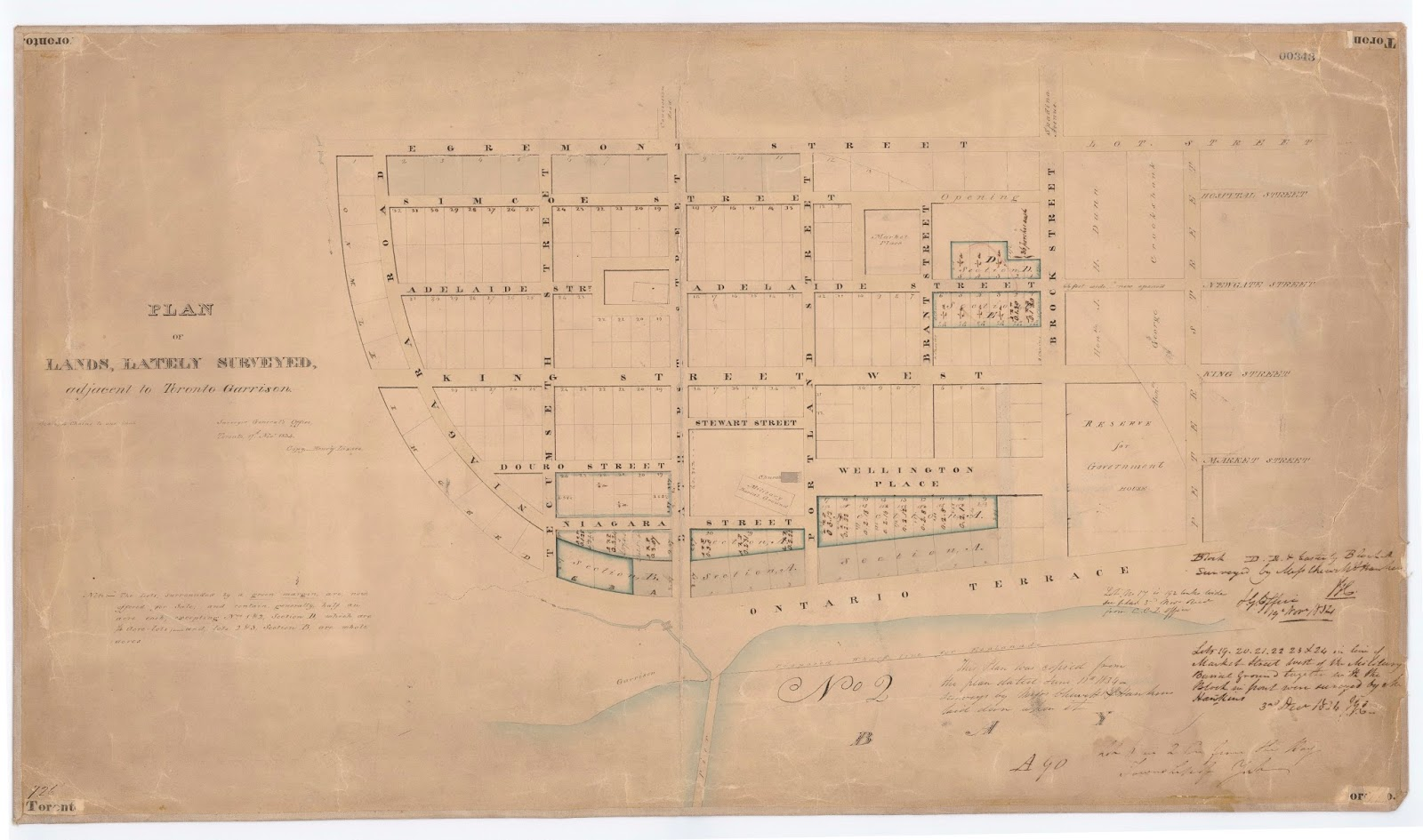 Map: Plan of lands, lately surveyed, adjacent to Toronto Garrison. Surveyor General's office, Toronto 17th Novr 1834, Copy – Henry Lizars.