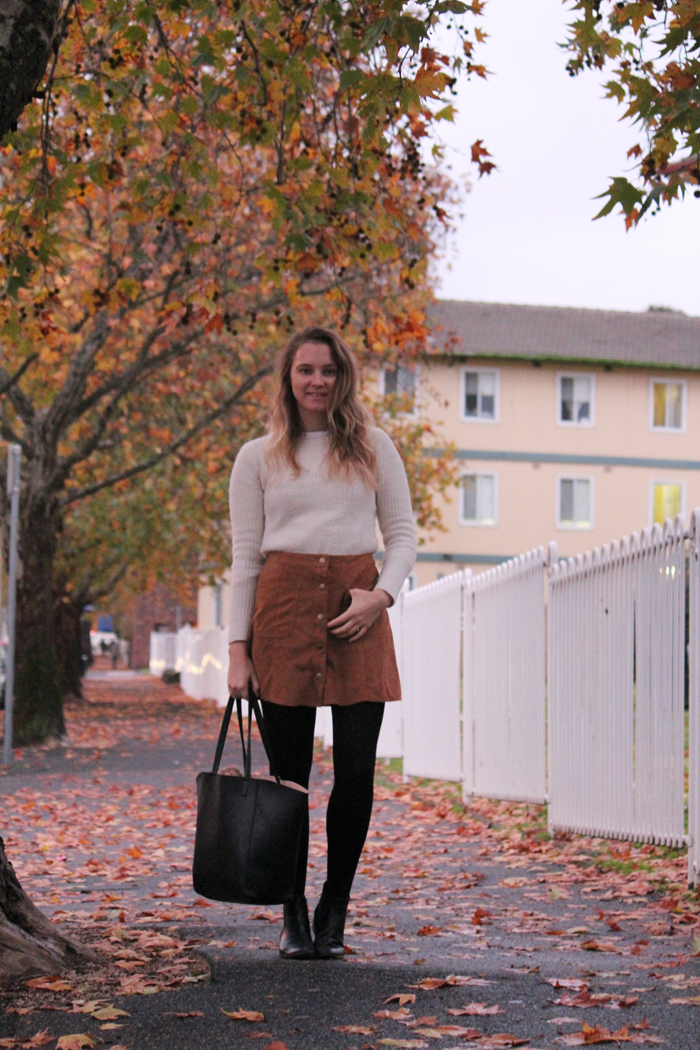 Suede Skirt and Cream jumper street style