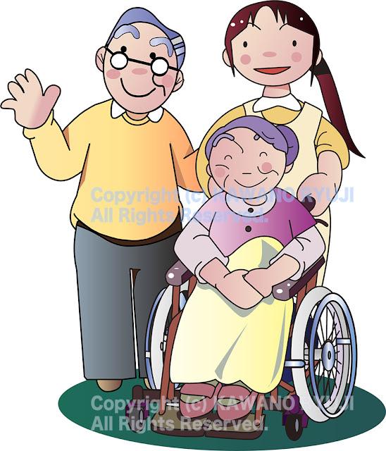 介護士,車椅子, 老後イラスト,老後