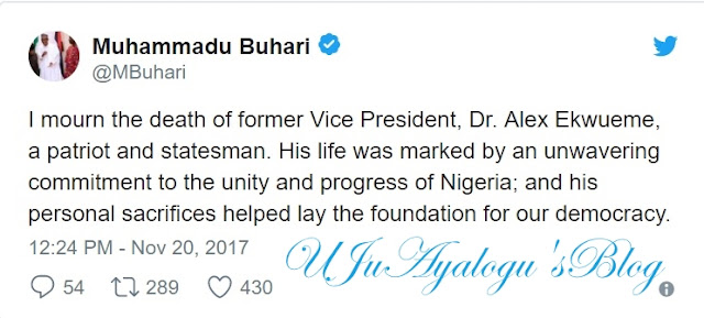President Buhari Condoles With the People of Anambra State Over Death of Ex-VP, Alex Ekwueme
