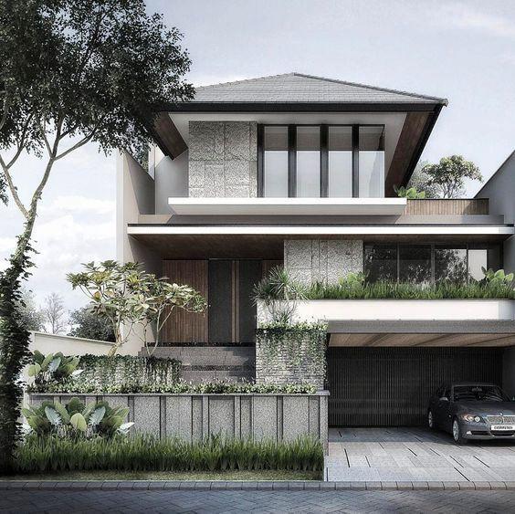 Rumah minimalis 2 lantai atap limasan dengan gaya industrial