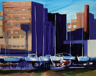 An painting of General Mills and boats on the Buffalo waterfront.