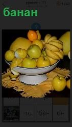 на столе стоит чаша, в ней находятся бананы и другие фрукты