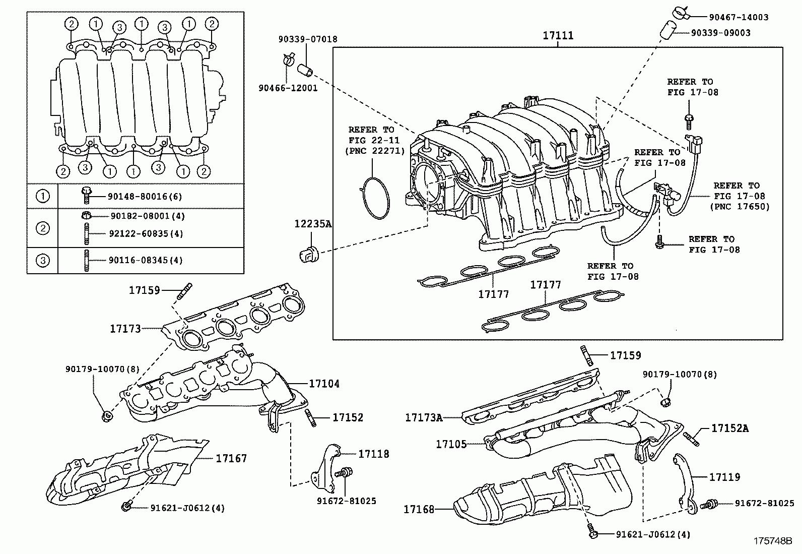 hight resolution of toyota uzn2 uzj120 inlet manifold gasket 17171 50030